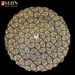 Sijin glassware gold color carving glass dish