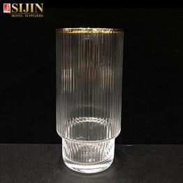 Sijin hotel glassware gold color edge tall glass cup