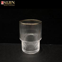 Sijin hotel glassware gold color edge short glass cup