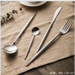 思锦四件套酒店餐具,叉子,勺子,不锈钢玫瑰金餐具套装
